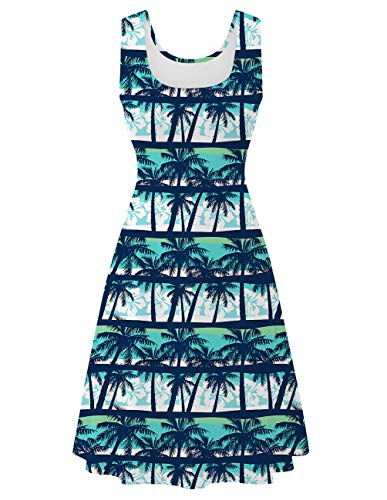 Uideazone Women's Vintage Scoop Neck Sleeveless A-line Hawaiian Tank A Line Dress for Beach Casual Party
