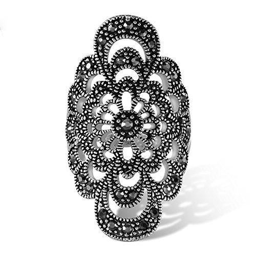 Yfnfxl Vintage Fashion Ring Silver Marcasite Flower Crystal Cocktail Statement Rings for Women from Yfnfxl