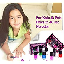 Nail Polish for KIDS and PETS, Non Toxic, Odorless, Dries in 40 Seconds. SET #1- Red, pink, black and white- the latest innovative nail polish in the beauty market