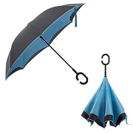 Paraguas Apertura Automática A Prueba De Viento Doble A Prueba De Viento Invertido Autoestable Resistente A