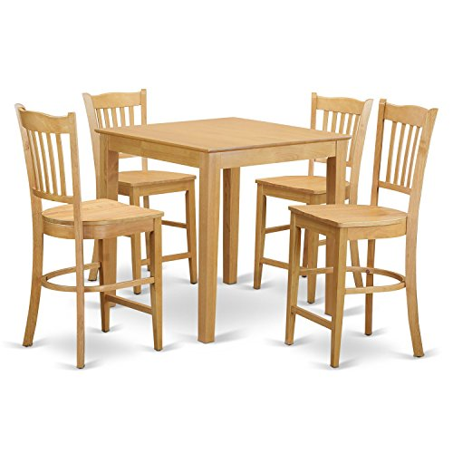 East West Furniture PBGR5-OAK-W 5 Piece High Top Table and 4
