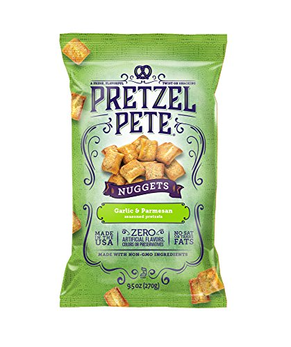 Pretzel Pete Seasoned Pretzel Nuggets, Garlic & Parmesan, 9.5 Ounce Bag (Pack of - Pretzel Garlic