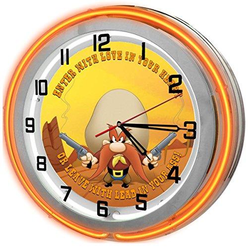"Yosemite Sam 18"" Orange Double Neon Light Garage Clock fr..."