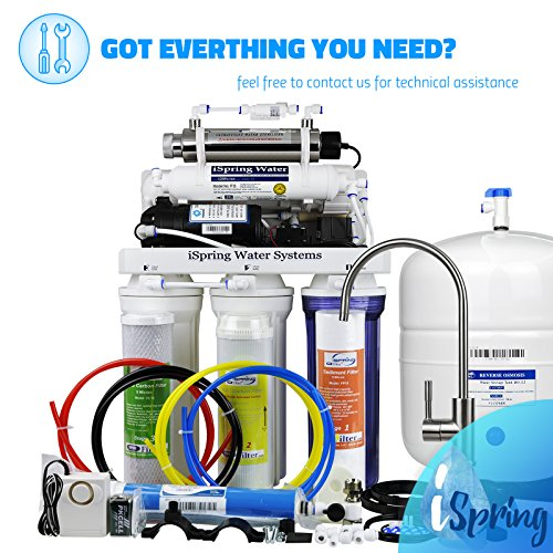 iSpring RCC1UP 6-Stage Maximum Performance Under-Sink Reverse Osmosis Drinking Water Filtration System with Booster Pump and UV Light Sterilizer by iSpring (Image #6)
