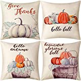 Jetec 4 Pieces Pumpkin Pillow Cover Throw Cushion Cover for Autumn Fall Thanksgiving Home Decoration Supplies, 18 by 18 Inches