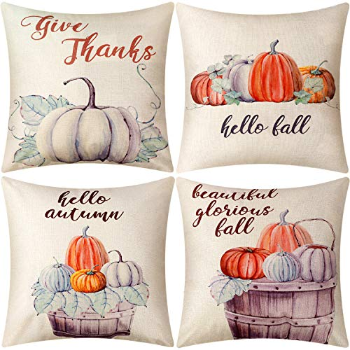 (Jetec 4 Pieces Pillow Case Throw Cushion Cover Cotton Linen Pillow Decorations for Halloween Thanksgiving Christmas Autumn, 18 by 18 inch (Color Set)