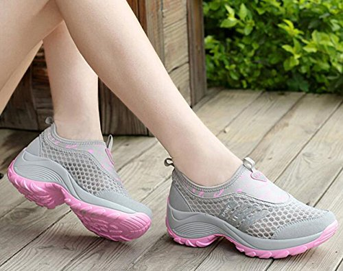GFONE Women's Mesh Breathable Platform Trainers Casual Sneakers Walking Running Shoes Slip On Grey2 nTsyQ