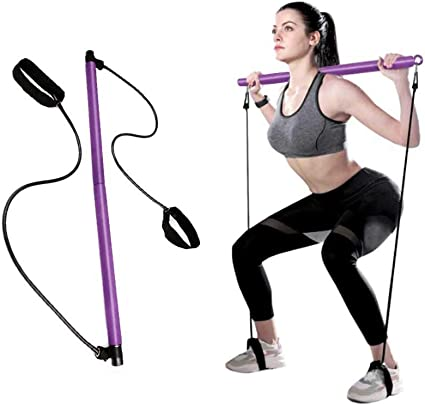 Portable Pilates Bar Kit W//Resistance Band Adjustable Exercise Stick for Gym