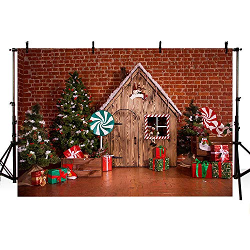 MEHOFOTO Red Merry Christmas Party Banner Photo Studio Backdrop Christmas Tree Wood House Brick Wall Backgrounds for Photography -