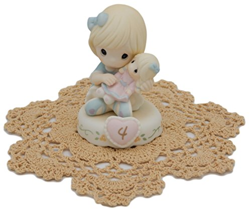 """Precious Moments """"Growing In Grace"""" Girl/Female collectible figurines with Westbraid Doily (Age 4, Blonde Hair) (Porcelain 4 Age Figurine)"""
