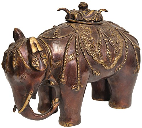 Elephant-Incense-Burner-Tibetan-Buddhist-Brass-Statue