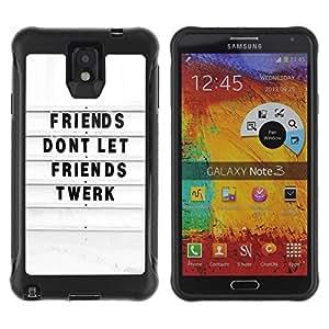 """Pulsar iFace Series Tpu silicona Carcasa Funda Case para SAMSUNG Galaxy Note 3 III / N9000 / N9005 , Amigos Twerk Cita divertida Blanco Negro"""""""
