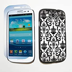 Samsung Galaxy S3 S-III Hard Plastic Black Cover Case + Screen Protector - White Vintage Flow By SkinGuardz