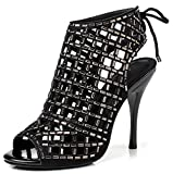 LizForm Women Peep Toe Sandal Boots Lace up Studded Stiletto Shoes Wedding Dress High Heels Black 7.5