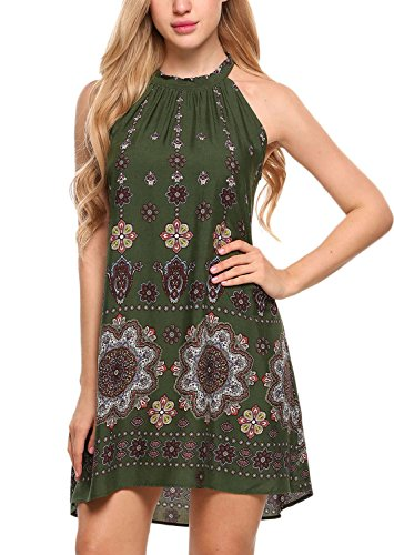 BLUETIME Women's Casual Sleeveless Halter Neck Boho Print Short Dress Sundress (S, Army ()