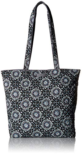 Vera Bradley Pocket - Vera Bradley Iconic Tote Bag, Signature Cotton, Charcoal Medallion, charcoal medallion, One Size