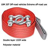 Tow Rope,Traction Rope Recovery Steel Hook Cord Pull,for SUV Car Trucks Vehicle Off-Road Outdoor Rescue,6M(19.6ft)-10M(32.8ft),10T(22046lb)-20T(44092lb) (Size : 10M20T Double Layer 13CM Wide)