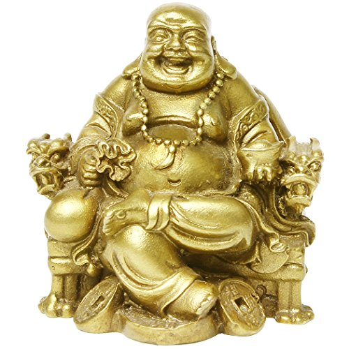 Chinese Fengshui Handmade Sitting Maitreya Buddha Statue Brass Smile Laughing Hotei Buddha Collectible Figurine Home Decor Gift
