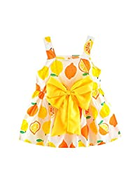 OCEAN-STORE Sundress Girls Newborn Baby Lemon Print Bow Princess Party Casual Sling Dress