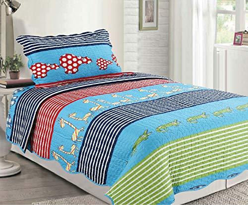 - Sapphire Home 2pc Twin Size Bedspread Quilt Set Bedding for Kids Teens Boys Girls, Crocodile Giraffe Animals Design Blue Green Coverlet, Twin Bedspread + Pillow Sham, Twin XJ21 Animals