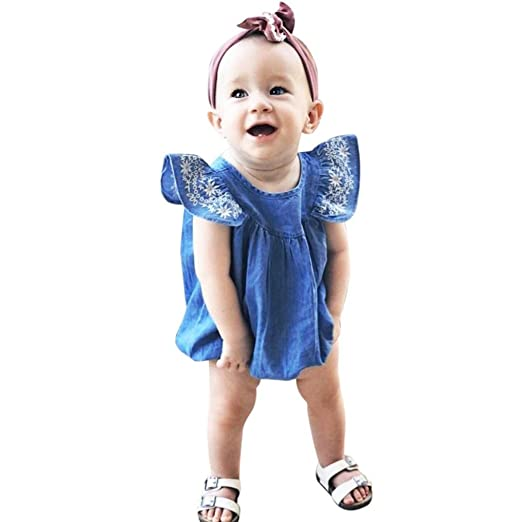820a1c825b42 Minisoya Summer Cute Newborn Infant Toddler Baby Girls Cap Sleeve  Embroidered Denim Romper Jumpsuit Playsuit Outfits
