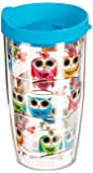 Tervis Multi-Color Owls Wrap Tumbler with Turquoise Lid, 16-Ounce