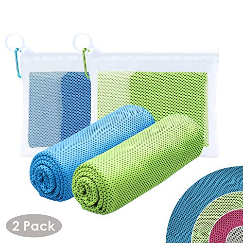 2 Packs Cooling Towels, Ice Towel, Microfiber Towel, Super Sweat-Absorbent Sports Towels for Workout, Fitness, Gym,Yoga, Pilates, Travel,Camping,Running,Training,Driving, Cycling & Other Sports£¨B&G£