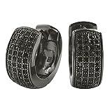 Black Four Row CZ Hoop Huggie Earrings Micro Pave