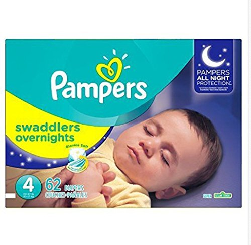Pampers Swaddlers Overnights Diapers,Soft,comfort of our softest diaper ,Size 4, 62 Count New