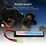 Tenergy 7.4V Airsoft Battery, 1000mAh High Capacity LiPO Butterfly Battery Pack, Rechargeable Hobby Battery Pack with Mini Tamiya Connector