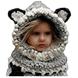 Jiamingyang Winter Warm Neck Wrap Scarf Children Wool Knitted Hats Baby Caps (Grey, 3-10 years old)