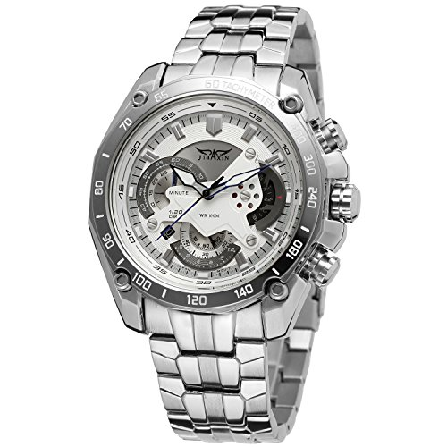 Chronograph Solid Wrist Watch - Forsining Men's Chronograph Date Japan Movement Quartz Wrist Watch with Stainless Steel Bracelet JXG550M4S1