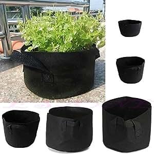 A96negro tela macetas plantas vegetales bolsa redonda aireación Pot contenedor bolsa de cultivo con