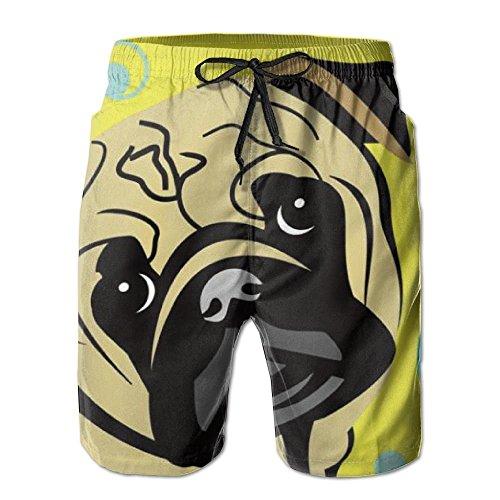 2018 pants Cute Cartoon Pug Balloon Men's/Boys Casual Swim Trunks Short Elastic Waist Beach Pants with Pockets by 2018 pants