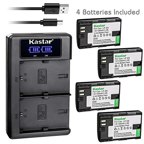 Kastar USB LCD Dual Charger and 4 Pack Battery for Canon LP-E6 LP-E6N, LC-E6 LC-E6E, Blackmagic Design Pocket Cinema Camera 4K, Marshall On-Camera HDMI Monitor, IKAN On-Camera HDMI Monitor