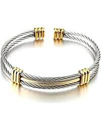 Men Women Stainless Steel Twisted Cable Adjustable Cuff Bangle Bracelet