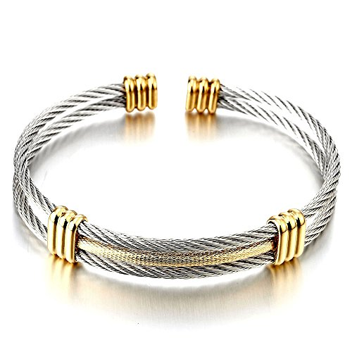 COOLSTEELANDBEYOND Mens Women Stainless Steel Twisted Cable Adjustable Cuff Bangle Bracelet Silver Gold Two Tone