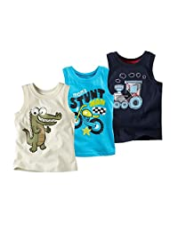 Coralup Little Boys Dinosaur Motorcycle Trains Tank Tops 3 Piece Set,18M-6T