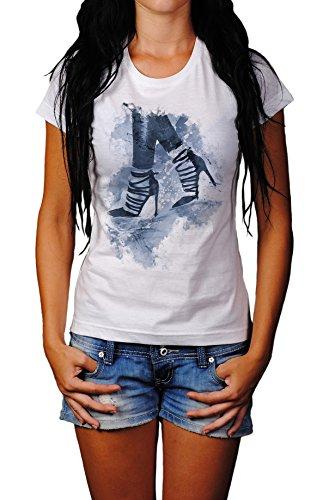 High Heels Lady T- Shirt , Stylisch aus Paul Sinus Aquarell Cyan Style