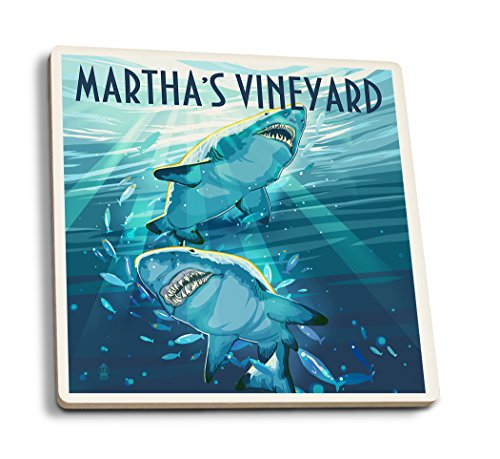 (Lantern Press Martha's Vineyard - Stylized Tiger Sharks (Set of 4 Ceramic Coasters - Cork-Backed, Absorbent))