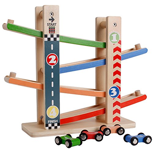 Racetrack Extension Set (Racetrack 4 Lanes Car Racing Classical Wooden Magnetic Train Car Tracks Educational Toys Set for Toddlers)