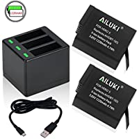 Ailuki Rechargeable Battery 2 Pack and 3-Channel Charger for GoPro HERO 5, HERO5 Black (Compatible with Firmware v02.51, v02.00, v01.57 and All Future Firmware Update)