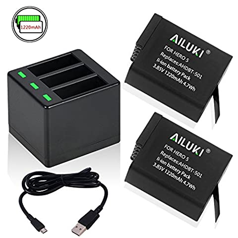 Ailuki Rechargeable Battery 2 Pack and 3-Channel Charger for GoPro HERO 5, HERO 5 HERO 6 Black (Compatible with Firmware v02.51, v02.00, v01.57 and All Future Firmware - Memory Lithium Ion Camcorder Battery