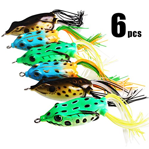 Freshwater Bass Bait (Sougayilang Hollow Frog Fishing Lures Soft Topwater Baits with Tackle Box for Bass Snakehead Saltwater Freshwater Fishing (6Pcs Frog Lure Only))