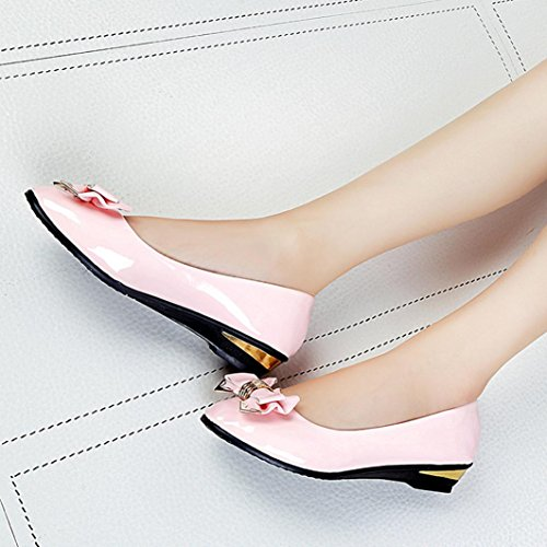 Inkach Womens Flat Shoes - Fashion Ladies Casual Pointed Toe Slip-On Shoes - Flat Heels Shoes Pink O54M8