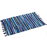 Ukeler 100% Cotton Rag Rug Reversible Colorful Striped Door Mat Contemporary Hand Woven Washable Area Rugs for Kitchen, Bathroom, Entry Way, Laundry Room, and Bedroom 2'x3', Blue
