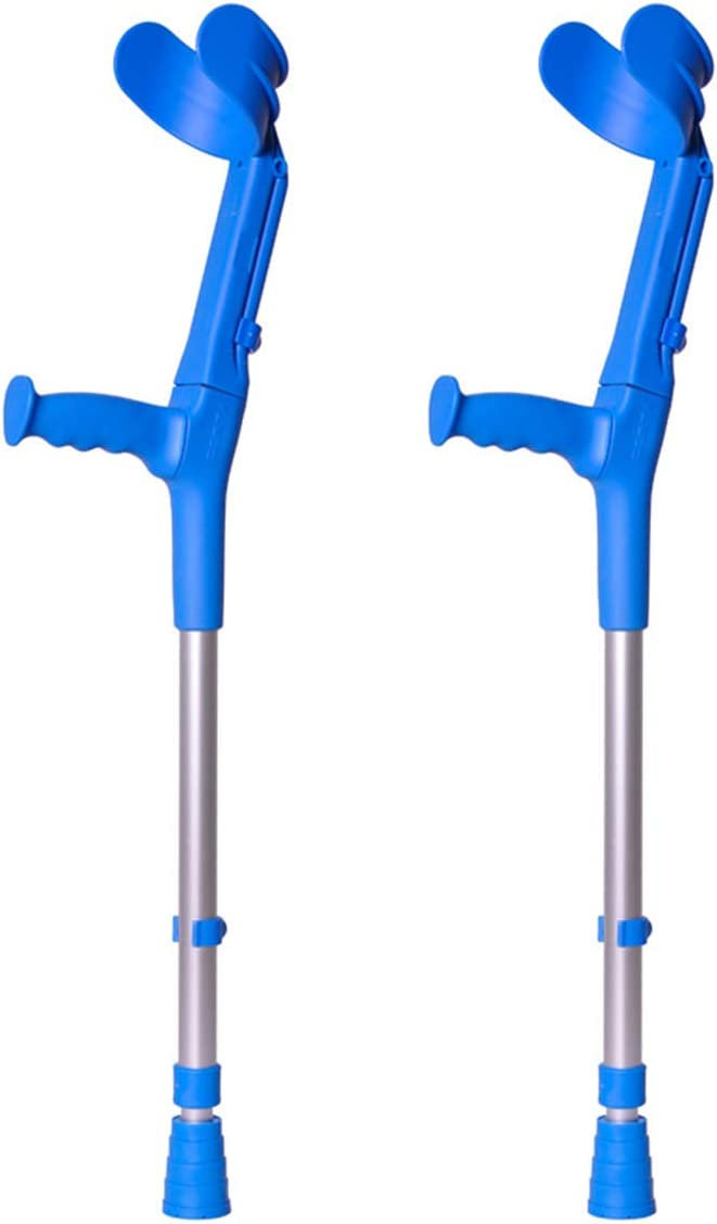 Muletas 2 uds azules infantiles, Fabricadas en aluminio, Con doble regulación en codo y caña, Pack ahorro