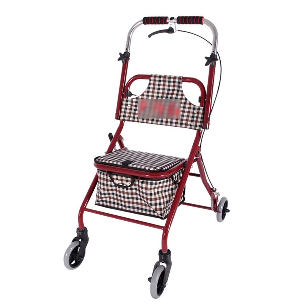 ショッピングキャリー ショッピングカートウォーカーショッピングカート老人用トロリーポータブルウォーカーホームショッピングカート付きシート折りたたみ車椅子ギフト150 kg耐えることができます (Color : Red, Size : 68*44*86-94cm) B07PYS3T57 Red 68*44*86-94cm