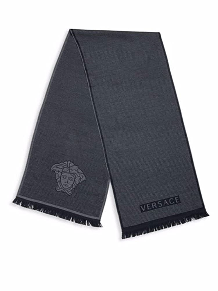 Versace Men's Box Patterned Wool Scarf, OS One Size Black B0131511465379