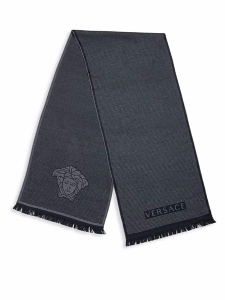 Versace Men's Box Patterned Wool Scarf, OS (Navy) by Versace